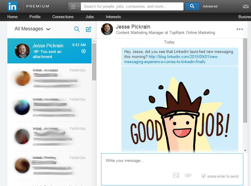 LinkedIn Messaging Window