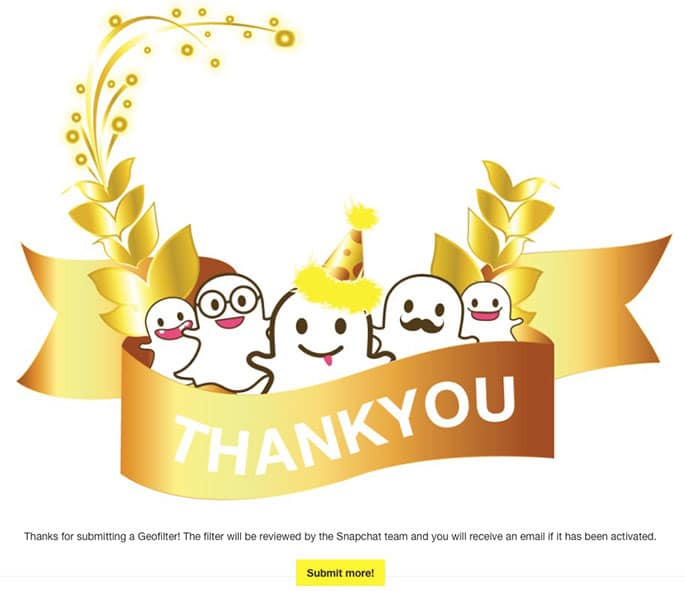 Snapchat Geofilter Submission Confirmation