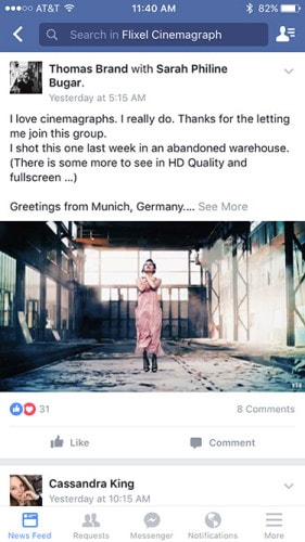 Cinemagraph In Facebook Feed